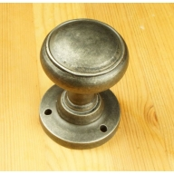 bronze/pewter single ribbed 50mm knob on rose