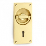 1804 flush lock handle polished brass