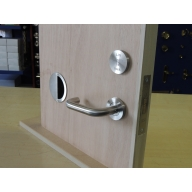 disabled bi-folding toilet facility door lift to lock set