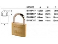 is800-507 iseo brass padlock 50mm