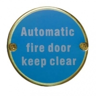 76mm polished brass automatic fire door keep clear sign