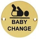 76mm polished brass baby change sign