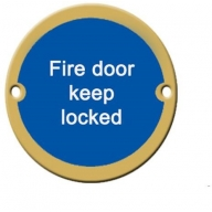 76mm polished brass fire door keep locked sign