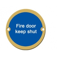 76mm polished brass fire door keep shut sign