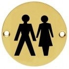 76mm polished brass unisex pictogram