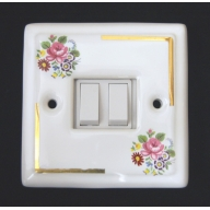 porcelain double switch - floral chintz (complete with electrics)