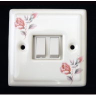 porcelain double switch - june rose (complete with electrics)