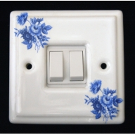 porcelain double switch - saxony (complete with electrics)