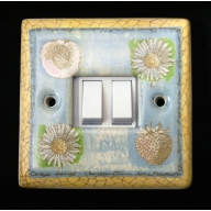 porcelain double switch - springtime (complete with electrics)