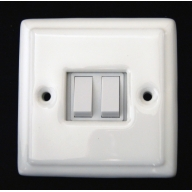 porcelain double switch - white (complete with electrics)