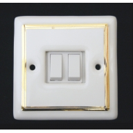 porcelain double switch - white double gold line (complete with electrics)