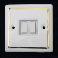 porcelain double switch - white single gold line (complete with electrics)