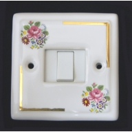 porcelain single switch - floral chintz (complete with electrics)