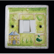 porcelain single switch - topiary (complete with electrics)