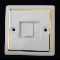 porcelain single switch - white single gold line (complete with electrics)