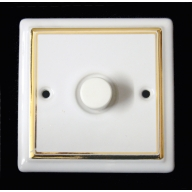 porcelain dimmer switch - white double gold line (complete with electrics)