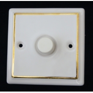 porceain dimmer switch - white single gold line (complete with electrics)