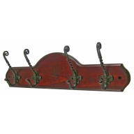 headbourne hr8101h 4 decorative iron hooks on antique wooden coat rack