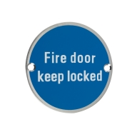 zss10 76mm fire door keep locked sign