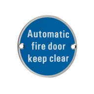 zss12 76mmautomatic fire door keep clear sign
